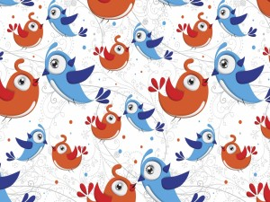 Imagen con pajaritos azules y naranjas