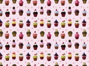 Fondo con cupcakes y corazones