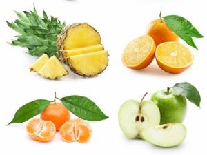 El interior de cuatro frutas