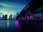 Luces moradas en un puente