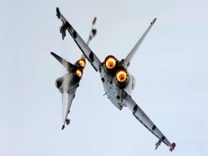Dos aviones militares en el cielo