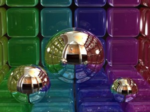 Esferas plateadas sobre cubos de colores
