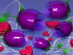 Rosas y corazones en 3D