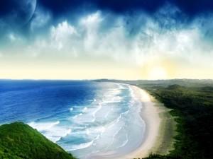 Gran luna sobre una playa