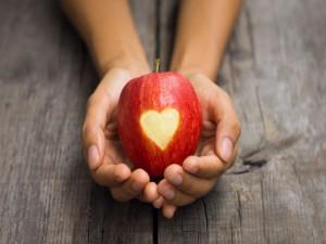 Manos sosteniendo una manzana