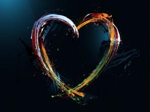 Bonito corazón con trazos de colores