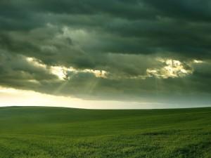 Cielo nuboso sobre un campo verde