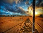 Red de voleibol en una playa