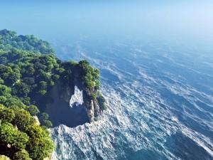 Hermosas vistas de un arco rocoso en el mar