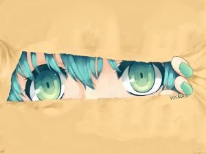Los ojos verdes de una chica anime