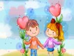Pareja de niños enamorados
