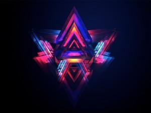 Pirámides abstractas en fondo negro