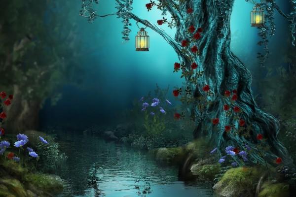 Farolillos iluminando las hermosas flores del bosque