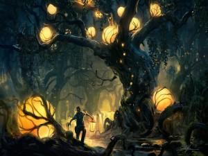 Chico con un farol atravesando un extraño bosque