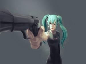 Hatsune Miku con una pistola