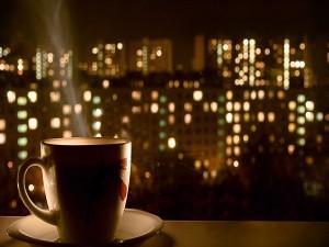 Tiempo de café en la noche