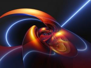 Figura curvada con luz y color
