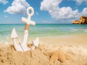 Estrella de mar y un ancla en la arena