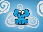 Un pequeño elefante azul
