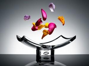 Pétalos de flores flotando sobre una fuente de cristal