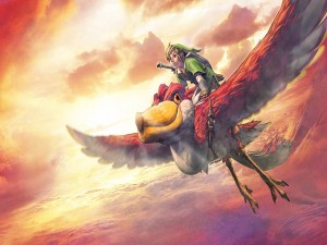 Link volando sobre un pelícano rojo (The Legend of Zelda: Skyward Sword)