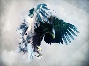 Un águila agitando sus alas