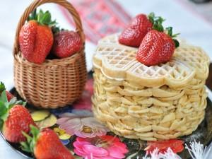 Waffles y fresas