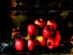 Bodegón con manzanas rojas