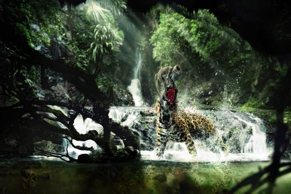 Jaguar comiéndose a un mono en la selva