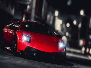 Lamborghini con las luces encendidas