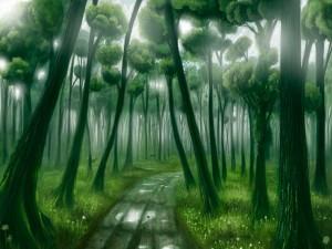 Ciervos entre los árboles del bosque