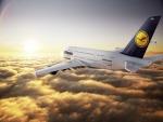 Airbus A380 de Lufthansa volando sobre las nubes