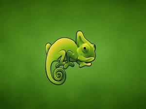 Un gracioso camaleón verde
