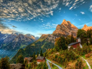Casas en los Alpes suizos