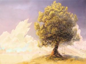 Columpio colgado de un árbol otoñal