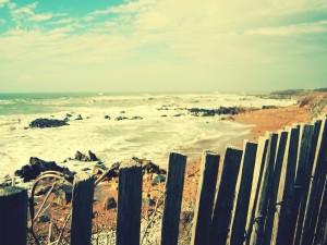 Valla de madera en la costa