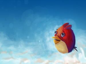 Terence volando en un cielo azul (Angry Birds)