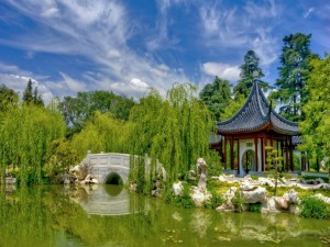 Espléndido jardín chino tradicional