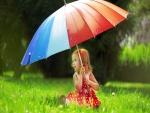 Niña con un paraguas