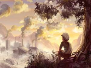 Niño junto a un árbol observando la contaminación de una fábrica
