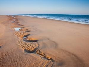Surcos en la arena de una playa