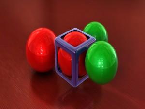 Esfera roja atrapada en un cubo