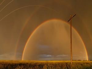 Gran arcoíris sobre un campo de cultivo