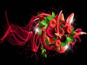 Diseño floral en 3D