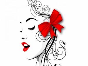 Perfil abstracto de una mujer con un moño rojo en el cabello