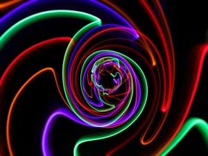 Líneas de colores formando una espiral