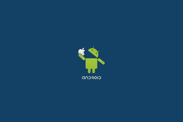 Android comiéndose el logo de Apple