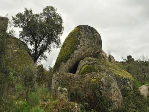 Rocas cubiertas de musgo verde bajo un cielo nublado