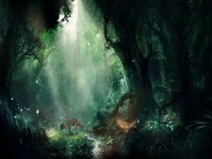 Dos ciervos en un bosque rodeados de árboles y mariposas
