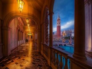 Vista desde un balcón de la representación de Venecia en Las Vegas
